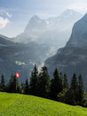 Swiss flag in the mountains on grass with eiger mountain at back Stock Photo