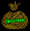 Swiss franc means worldwide trading and coinage showing currency exchange currencies Stock Photos