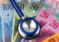 Swiss Franc and stethoscope Royalty Free Stock Photography
