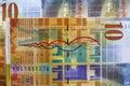 Swiss francs ten banknotes close up Stock Photos