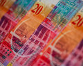 Swiss frank banking unit of twenty franc banknote closeup Stock Image