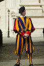 Swiss guard outside vatican city state april pontifical dressed in the renaisance style uniform on duty the Royalty Free Stock Images