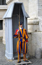 Swiss guard posted at st peter s basilica a vatican city Stock Images