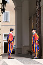 Swiss Guards near summer residence of Pope, Italy Stock Photos