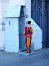 Swiss guards in the vatican in rome italy are the soldiers who have served as bodyguards ceremonial and Royalty Free Stock Photo