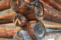 Swiss old wooden lodge made of tree trunks braugunden switzerland Stock Photos