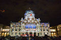 Swiss parliment during light show in bern switzerland november the parliament building at night Royalty Free Stock Photo