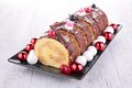 Swiss roll yule log and decoration Stock Photo