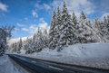 Swiss Rural Road Winter Landscape Stock Photo