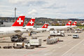 SWISS's air crafts at Zurich airport 1 Stock Photos