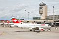 SWISS's air crafts at Zurich airport Royalty Free Stock Image