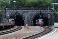 Swiss Train Coming Out From Gotthard Tunnel Stock Image