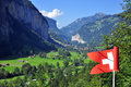 Swiss valley view in lauterbrunnen Royalty Free Stock Photo