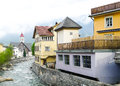 Swiss village by the alps Royalty Free Stock Images