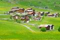 Swiss village by the alps Royalty Free Stock Photography