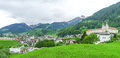 Swiss village by the alps Royalty Free Stock Image