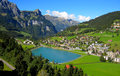 Swiss village on hillside Royalty Free Stock Photo