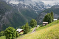 Swiss village this is a photo of in switzerland Royalty Free Stock Images