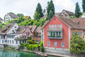 Swiss village by the rhine river Royalty Free Stock Images