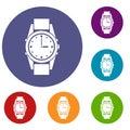 Swiss watch icons set