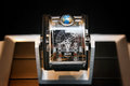 Swiss watches on blurred background of watch box Royalty Free Stock Photo