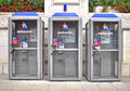 Swisscom telephone booths geneva switzerland august of in the street of geneva on august ag is a major telecommunications Stock Image