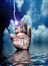 Switch on hand electric jolt and Royalty Free Stock Photos