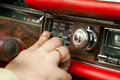 Switching convertible top button on an old vintage car with selective focus Royalty Free Stock Photos
