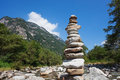 Switzerland cairn stack of rocks against bly sky Royalty Free Stock Photo