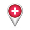 Switzerland flag map pointer with shadow. Vector illustration Royalty Free Stock Photo