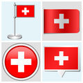 Switzerland flag set of sticker button label a various and flagstaff Royalty Free Stock Images