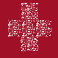 Switzerland icon flag related icons and words forming a white cross on red background like in the swiss Royalty Free Stock Photography