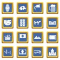 Switzerland icons set blue