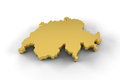 Switzerland map d in gold and including clipping path high resolution of a Royalty Free Stock Image