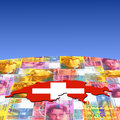Switzerland map flag on currency Stock Photos