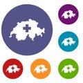Switzerland map icons set Royalty Free Stock Photo