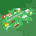 Switzerland map, isometric 3d style Royalty Free Stock Photo