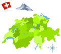 Switzerland map of provinces and regions Royalty Free Stock Photo
