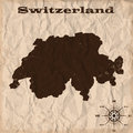 Switzerland old map with grunge and crumpled paper. Vector illustration Royalty Free Stock Photo