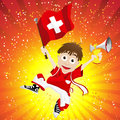 Switzerland Sport Fan with Flag and Horn Stock Photography