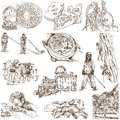 Switzerland traveling series no collection of an hand drawn illustrations description full sized hand drawn illustrations drawing Royalty Free Stock Photos