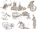 Switzerland traveling series no collection of an hand drawn illustrations description full sized hand drawn illustrations drawing Royalty Free Stock Images