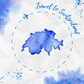 Switzerland watercolor map in blue colors.