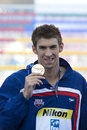 Swm world aquatics championship ceremony mens m butterfly jul rome italy michael phelps usa during the medal for the the race was Stock Photography