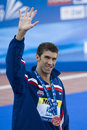 Swm world aquatics championship ceremony mens m butterfly jul rome italy michael phelps usa during the medal for the the race was Stock Images