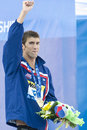Swm world aquatics championship ceremony mens m butterfly jul rome italy michael phelps usa during the medal for the the race was Stock Photo