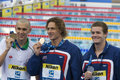 Swm world aquatics championship mens m individual medley f jul rome italy laszlo cseh hun bronze medal winner left ryan lochte usa Royalty Free Stock Images