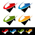 Swoosh arrow icons set of with graphic elements Royalty Free Stock Images