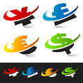 Swoosh Currency Symbols Stock Image