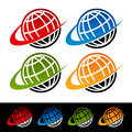 Swoosh earth icons set of colorful with graphic elements Stock Photos